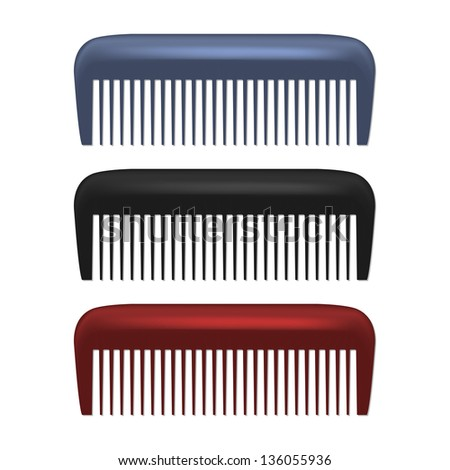 Colorful Combs isolated on white background. See also vector version
