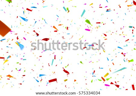 Colorful Confetti Falling in Front of a White Background #575334034