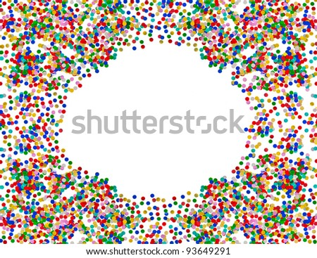 colorful confetti frame. red, blue, green, yellow confetti on white background