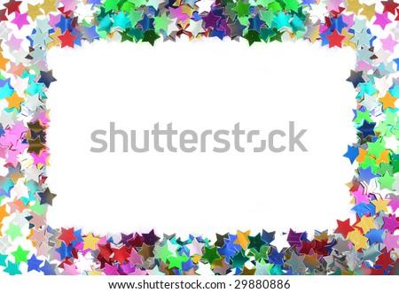 Colorful confetti frame. Stars in the form of confetti