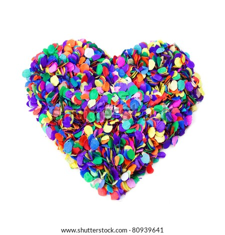 Colorful confetti heart,  on white background