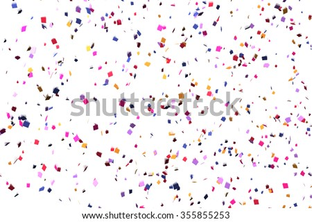 Colorful Confetti in front of White Background