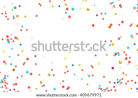 Colorful Confetti in front of White Background #409679971