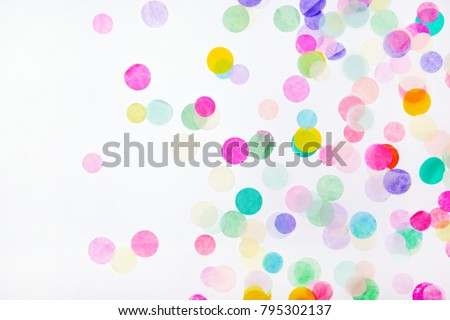 Colorful confetti on white background with copy space #795302137