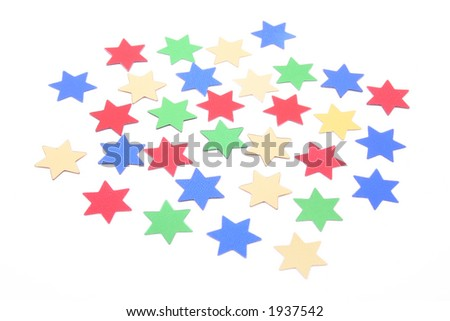 colorful confetti stars isolated on white