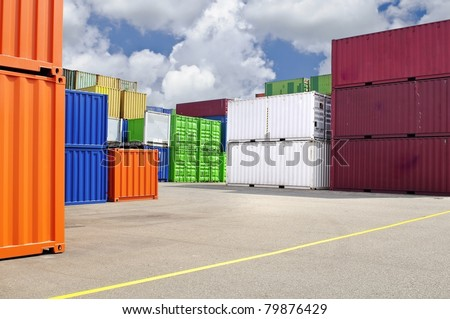 colorful containers at warehouse