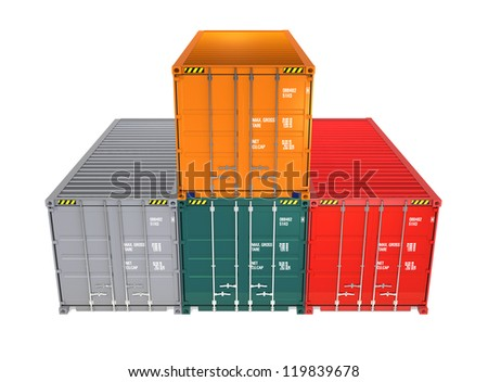 colorful containers composed a victory stand