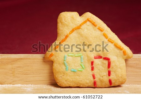 Colorful cookie house with colorful crumble as outlines