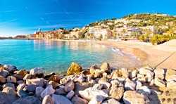 Colorful Cote d Azur town of Menton beach and architecture panoramic view, Alpes-Maritimes department in southern France
