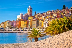 Colorful Cote d Azur town of Menton beach and architecture view, Alpes-Maritimes department in southern France