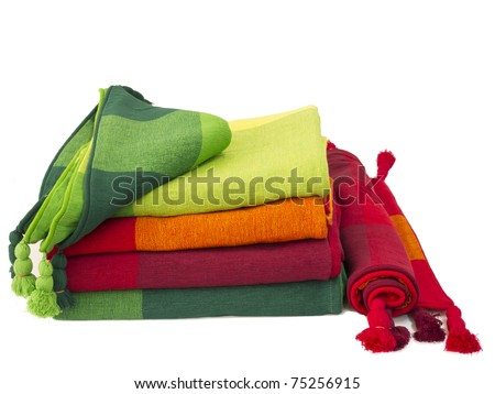 Colorful cotton Table napkin or tablecloth isolated on white / bad cover, pillowcase