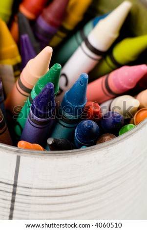 colorful Crayon close up shot