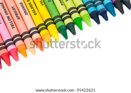 Colorful Crayons in a Slanted Row - Colors