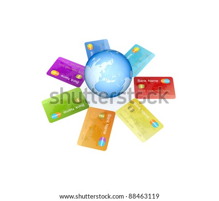 Colorful credit cards around the globe.Isolated on white background.3d rendered.