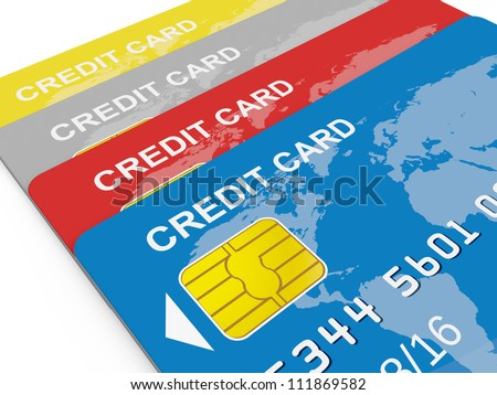Colorful credit cards, front view, isolated on white.