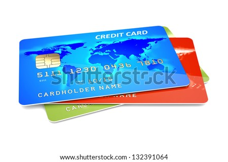 Colorful credit cards on a white background. 3d illustration