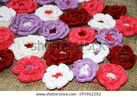 Colorful crochet flowers #595962182