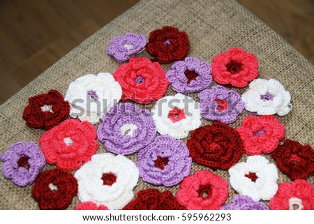 Colorful crochet flowers #595962293