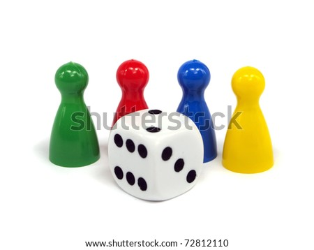 Colorful crowd and dice on white background