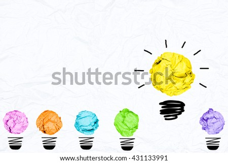 colorful crumpled paper light bulb with white background creative inspiration concept metaphor for think different idea /another direction / think other way  #431133991