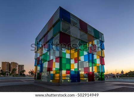 Colorful cube from glass