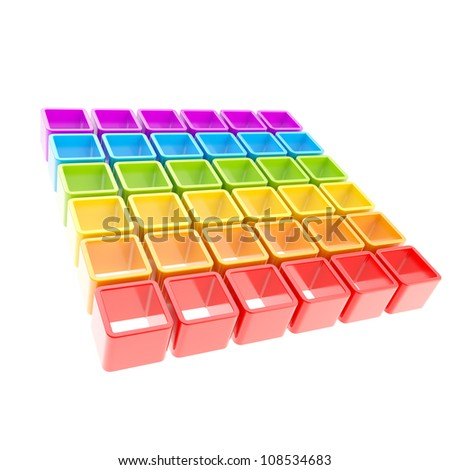 Colorful cube rainbow colored cell composition isolated on white as abstract background