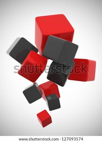 Colorful cubes 3D - 3d render