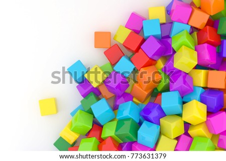 Colorful cubes on white background. 3D cube. Colored cubes. Cube abstract background. Colorful cube.