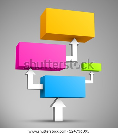 Colorful cubes with arrows 3D.
