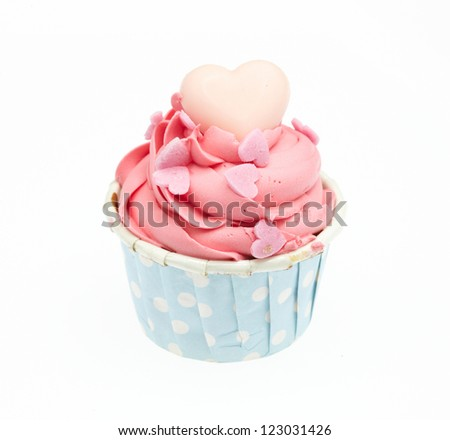 Colorful Cup Cake on White Background