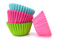 Colorful cupcake paper cups on white background