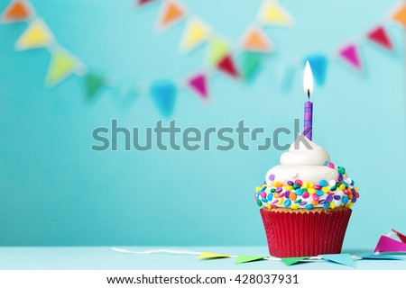 Colorful cupcake with single birthday candle #428037931