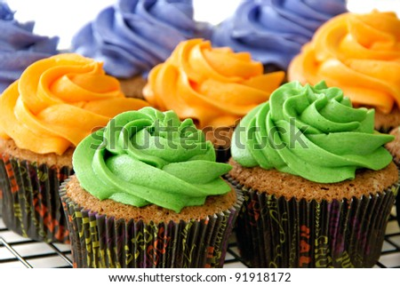 Colorful cupcakes, in Halloween cupcake liners