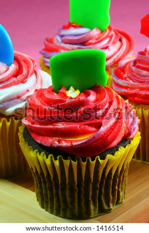 Colorful Cupcakes, Vertical - stock photo