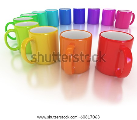 colorful cups on the white background