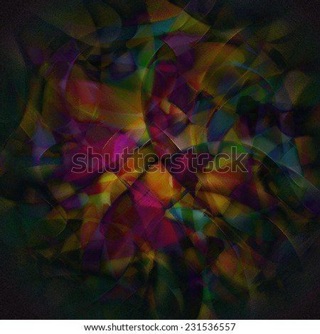 colorful curved shapes on the black background, black gradient frame