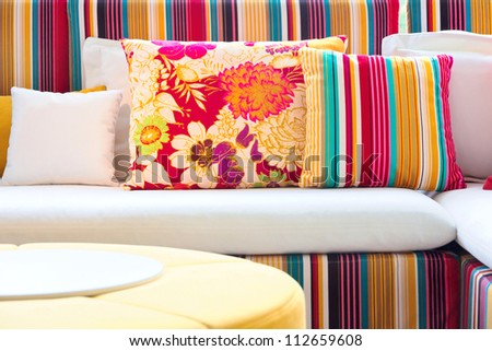 Colorful cushions.