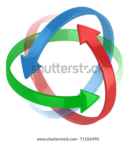 colorful 3d arrows circling around symbolizing protection or motion
