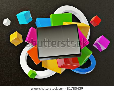 colorful 3d background isolated on a black