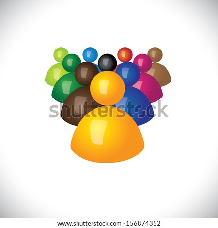 colorful 3d icons or signs of office staff or employees graphic. This illustration also represents community members, leadership & team, winner and losers, political leader & followers