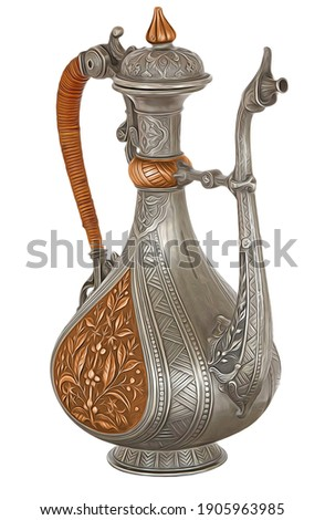 Colorful 3d illustration and 3d rendering royal teapot design for kitchen, Royal teapot designs in white background.