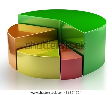 Colorful 3 d pie chart graph. Isolated on a white background