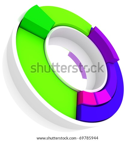 Colorful 3d pie graph isolated on white - stock photo