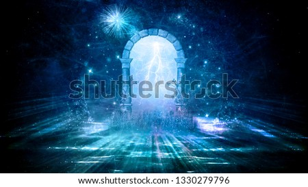 Colorful 3d Rendering Electrifying Artistic Gate That Leads to Another Dimension