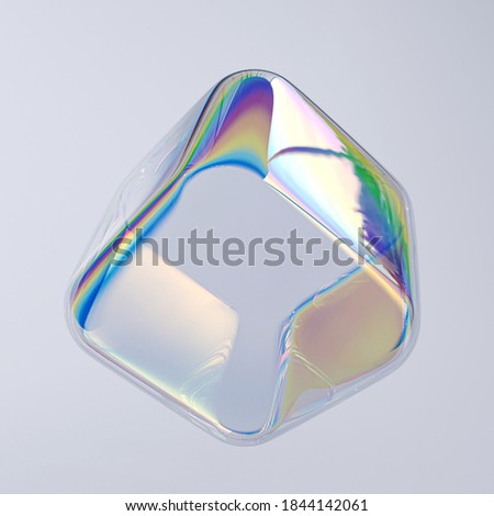 Colorful 3d shape cube holographic gradient, geometric art poster template, dispersion effect glass 3d rendering Stockfoto ©
