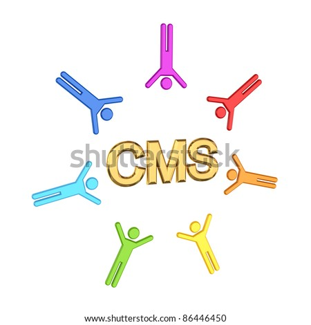 Colorful 3d small people and golden  word CMS.Isolated on white background.