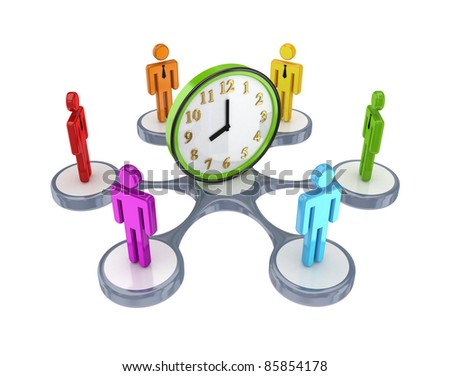 Colorful 3d small people around watch.Isolated on white background. 3d rendered.
