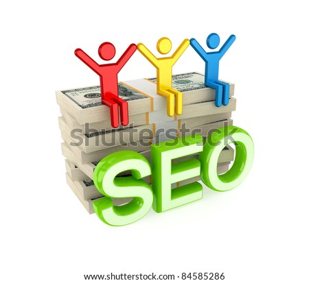 Colorful 3d small people, dollar packs and big word SEO.Isolated on white background.