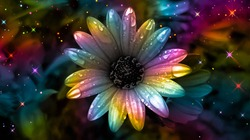 Colorful daisy. Rainbow flower background. Rainbow abstract art. Rainbow floral background. Surreal abstract. Colorful glittering background. Colorful sparkles. Multicolor flower backdrop.