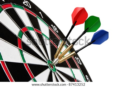 Colorful darts hitting a target, isolated on white